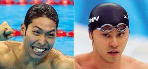 萩野公介(左)はリオデジャネイロオリンピックで金メダル。北島康介(右)はアテネおよび北京オリンピックで計4つの金メダルを獲得した。