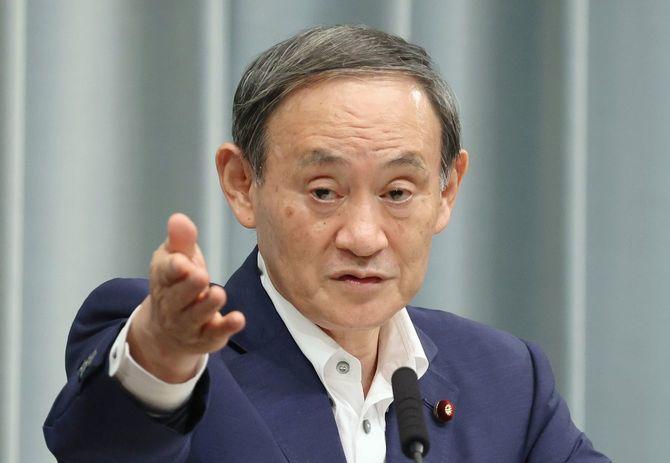 記者会見する菅義偉官房長官=2020年9月3日午前、首相官邸