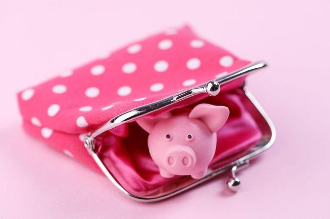 ピギーバンクとピンクの財布