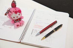 """愛用のノートとペン。考えを図式化して整理したり、構想を練ったりするための必須アイテム。生年月日が同じサンリオキャラクター""""ハローキティ""""は国内外の出張のよき相棒だそう。"""