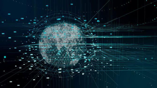 デジタル地球とのビッグデータの可視化。フィンテック。
