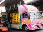 取締役副社長・石渡美奈のアイデアで装飾が施された輸送用トラック。通称「ホピトラ」。装飾の異なる何台ものトラックが街を走る。輸送の途中で人々の目に入り、抜群の宣伝効果をもたらす。