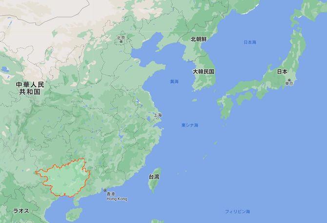 広西チワン族自治区の場所(Google mapより)。地理的にはかなり南にある。