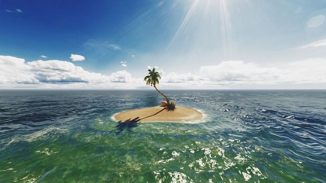 浅いターコイズブルーの海の中にヤシの木が生えた無人島