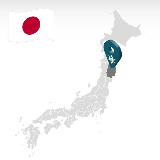 地図上の岩手県の位置