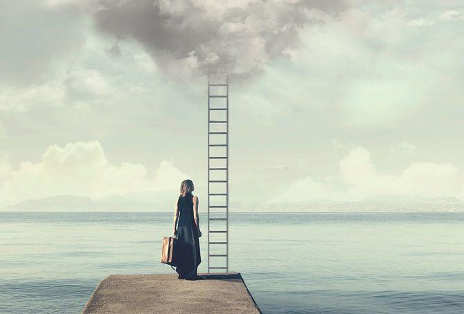 優柔不断な女性が知らない場合幻滅した先に空からはしごを登る