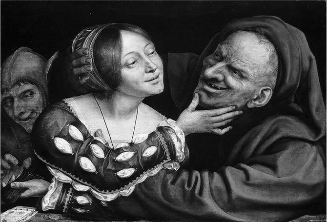 クエンティン・マセイス〈不釣り合いなカップル〉1520~25年/ナショナル・ギャラリー ワシントン/女性が手にしているのは老人の財布。後ろにいる間男にそれを渡している