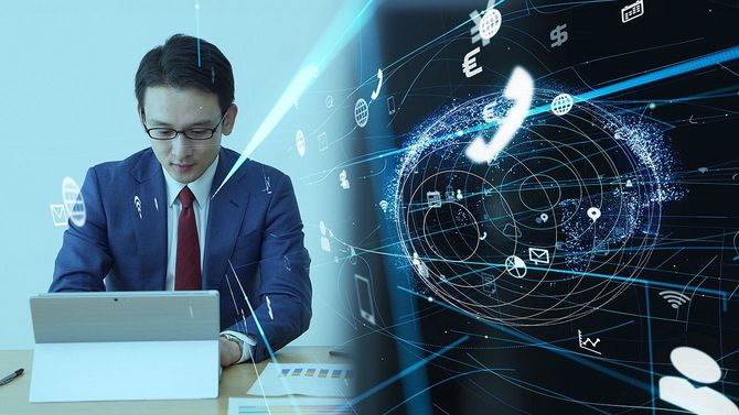 ビジネスとテクノロジーのコンセプト。通信ネットワーク。