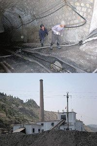 山西省の炭鉱で働く労働者(上)と炭鉱(下)。