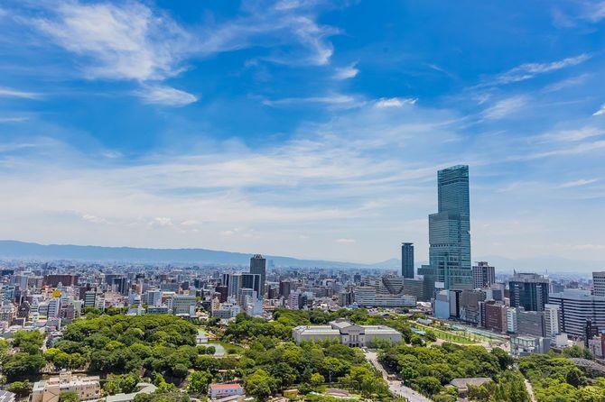 通天閣から見た大阪市の眺め