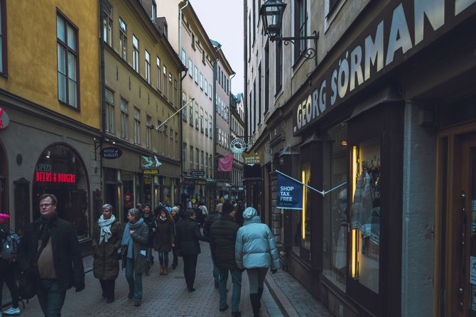 Crowded street in the old town of Stockholm, Sweden in early March 2020.