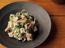 ほんのり洋風「焼き舞茸と春菊のくるみ白和え」のレシピ