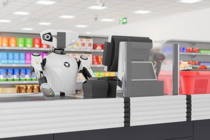スーパーのレジを担当するロボットのイメージ