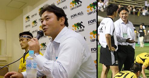 チームスローガンを熱く語る姿勢は、記者会見、フィールド上でも変わらず、選手を鼓舞する。