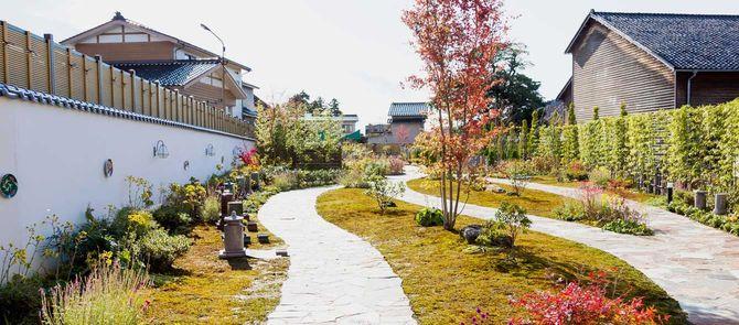 真冬にもかかわらず、緑が保たれている「金沢寺町 宝勝寺ふれあいパーク霊苑」。とても霊園には見えない。