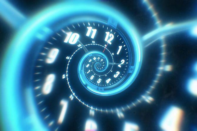 回転らせん状発光時計の数字から。抽象的な3dイラスト