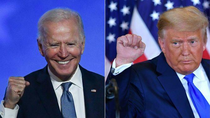 バイデン前米副大統領(左)とトランプ大統領=2020年11月4日