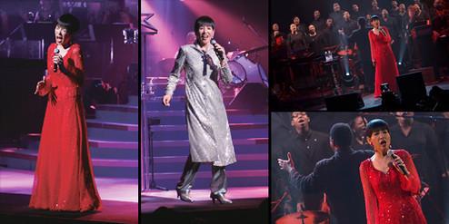 (左右)ニューヨークのアポロシアターでのライブの様子。日本人の単独公演は初めてのこと。会場には1450人のファンが押し寄せ満員。日本からのツアー客は40人のみ。(中)今夏、デビュー40周年記念ライブが全国10カ所で開催された。写真はNHKホールのもの。