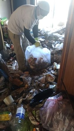 ゴミが積み重なった部屋