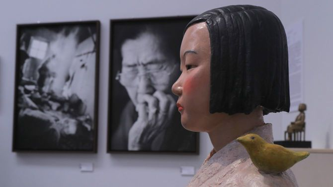 中止となった「表現の不自由展・その後」で展示されていた「平和の少女像」