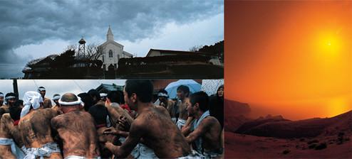 (左上)五島市・岐宿にある水ノ浦教会は1880年に創建され、1938年に改築された。木造教会堂としては最大規模という。現在も多くの信者を集め、ミサが行われている。<br> (左下)五島市・下崎山地区の伝統行事「へトマト」。墨を塗った若衆が、藁で作った玉を奪い合う。<br> (右)隠岐・島前の国賀海岸から海を望む。