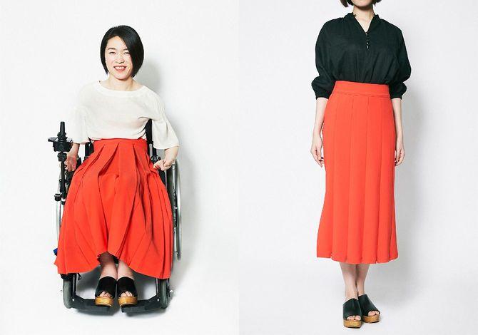 フレアにもタイトにもなるスカート