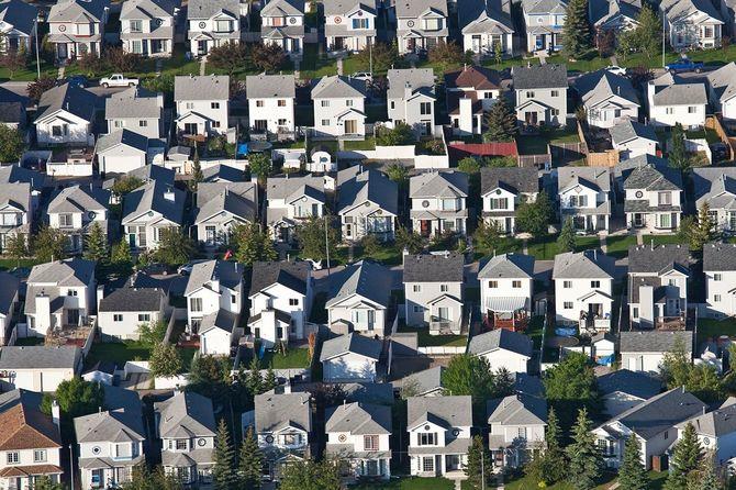 空から見た住宅の周辺や住宅開発