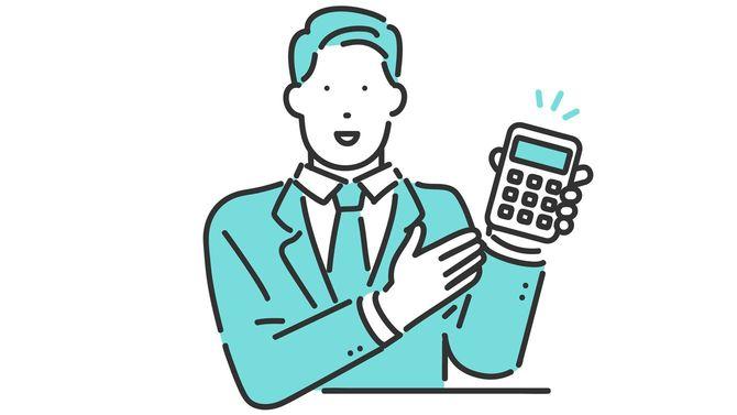 電卓で見積もりをするビジネスパーソン