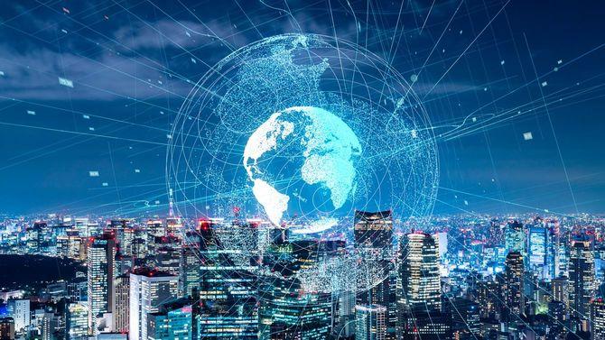 グローバルコミュニケーションネットワークの概念。スマートシティ。