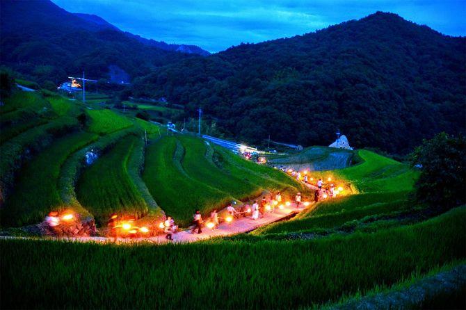 蝗害に遭わないように農村で続けられている虫送り(小豆島にて)。