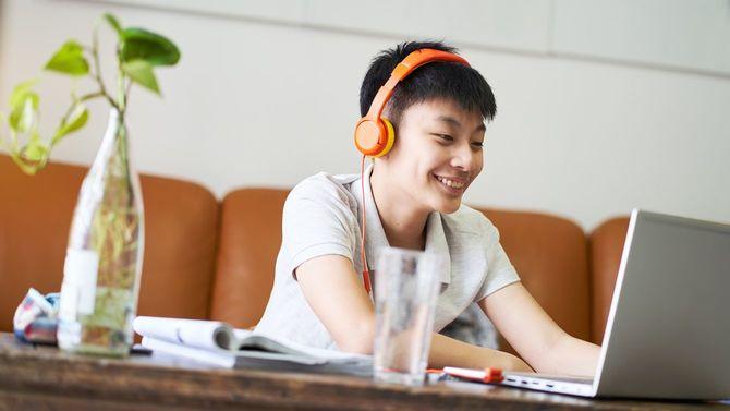 自宅でオンラインレッスンを受ける笑顔の男子生徒