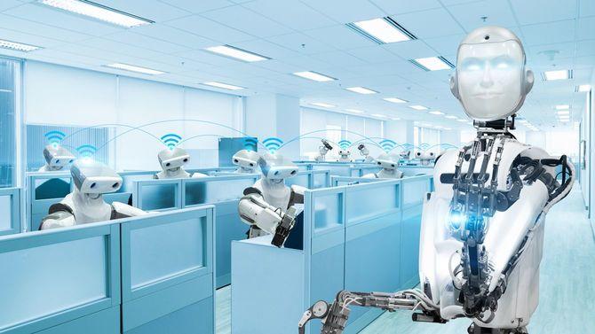 オフィスで働くロボットのチーム
