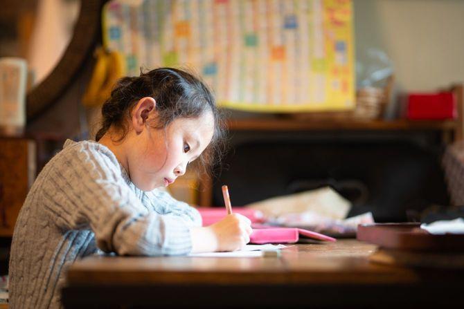 自宅で勉強する女の子