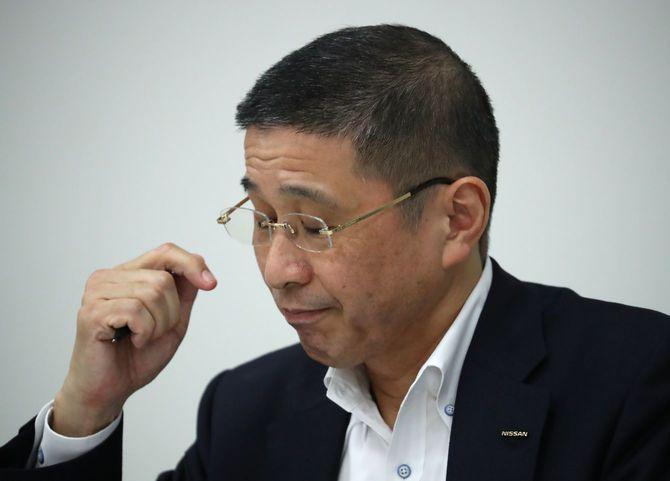 不正報酬問題について記者会見する日産自動車の西川広人社長兼最高経営責任者(CEO)=2019年9月9日、横浜市西区