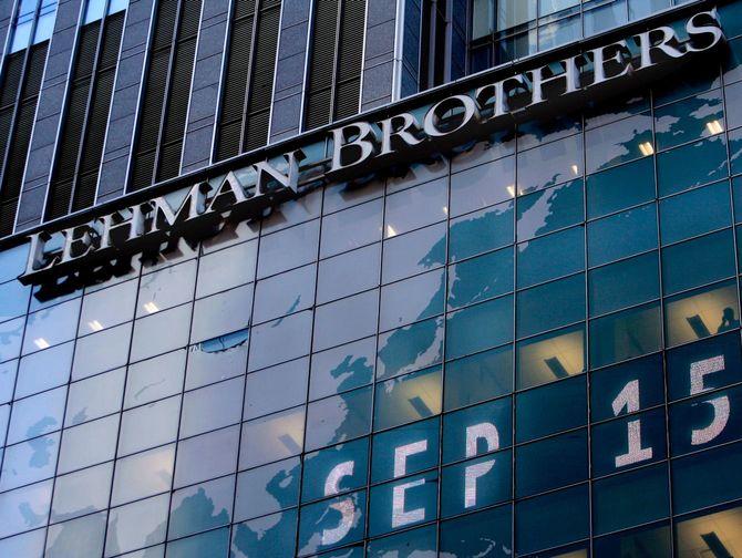 2008年9月15日のリーマン・ブラザーズ、ニューヨーク本社。この経営破綻を発端に、連鎖的に世界規模の金融危機が起きた