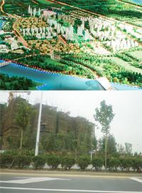パナソニックと日立製作所で参画「天津エコシティ」●中国天津市の中心から北45kmに展開する総額3.5兆円プロジェクト。マンション11万戸、計画人口35万人。その構想模型(写真上)。同地区に建設中のマンション(写真下)。