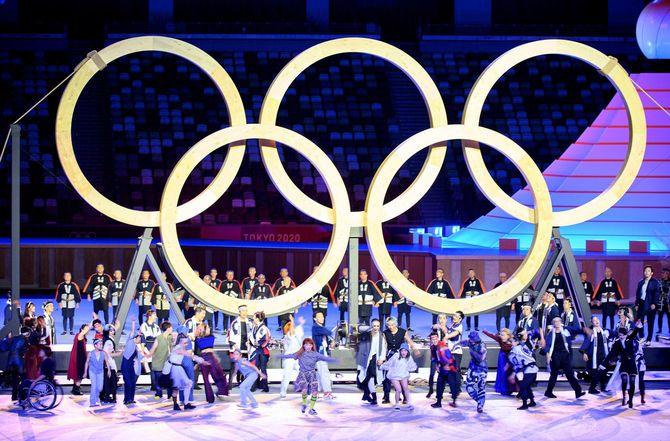 東京2020オリンピック開会式のパフォーマンス。2021年7月23日撮影