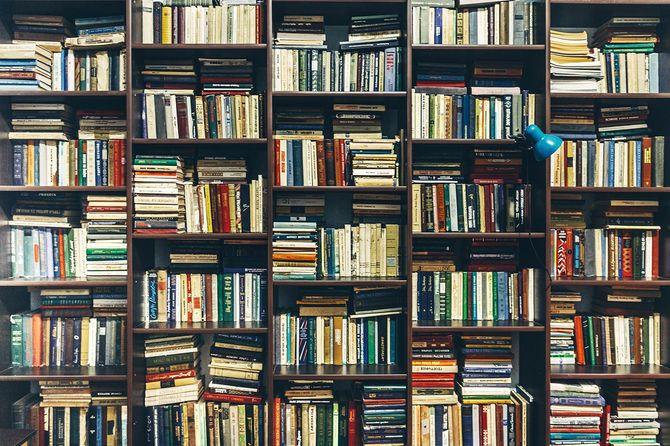 書店。公共の古い図書館。創造性の概念