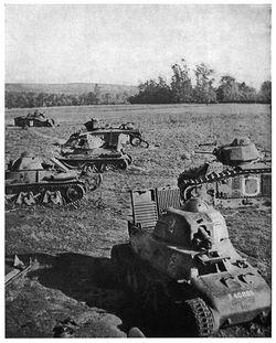 撃破されたフランス戦車隊