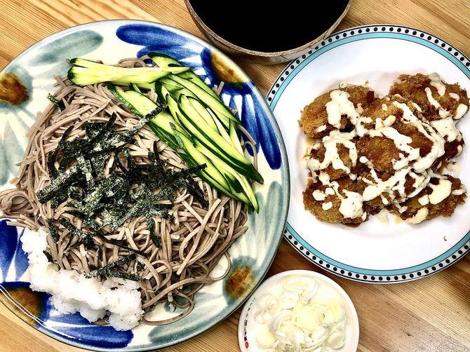 カキフライと蕎麦