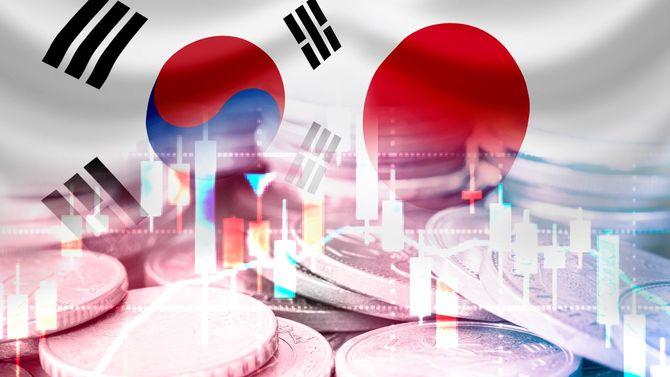 日韓の国旗とコイン