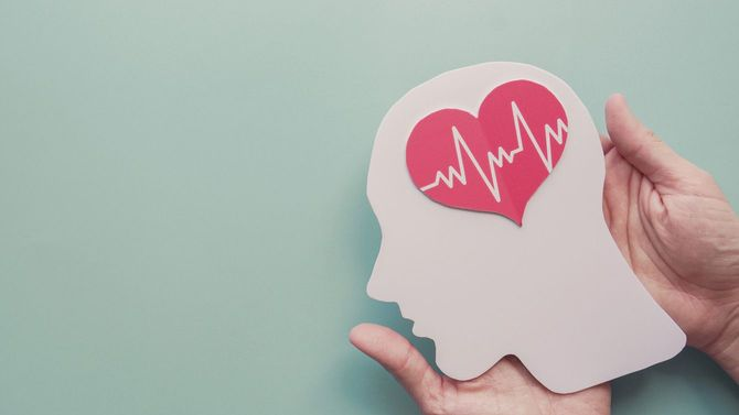 型紙で作られた脳に心電図の波形