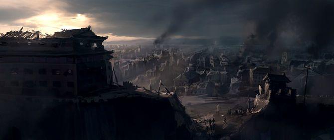 破壊された都市の絵