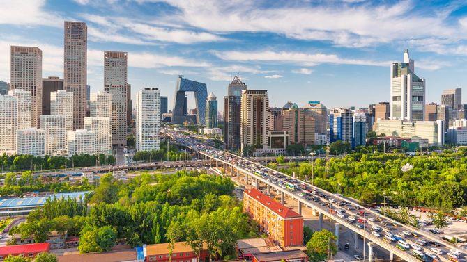 中国・北京の近代的な金融街