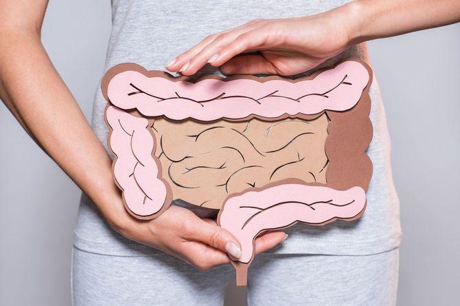 腸のイラストをおなかに当てている人