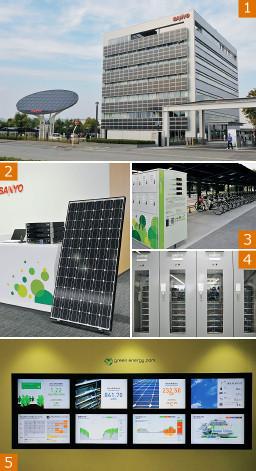 """加西グリーンエナジーパーク(写真1)。三洋の太陽電池と蓄電用標準電池システム(写真2)。ひさしに太陽電池が設置された加西事業所の自転車置き場(写真3)。蓄電池棟の大型蓄電システム(写真4)。発電・蓄電状況が""""見える化""""(写真5)。"""