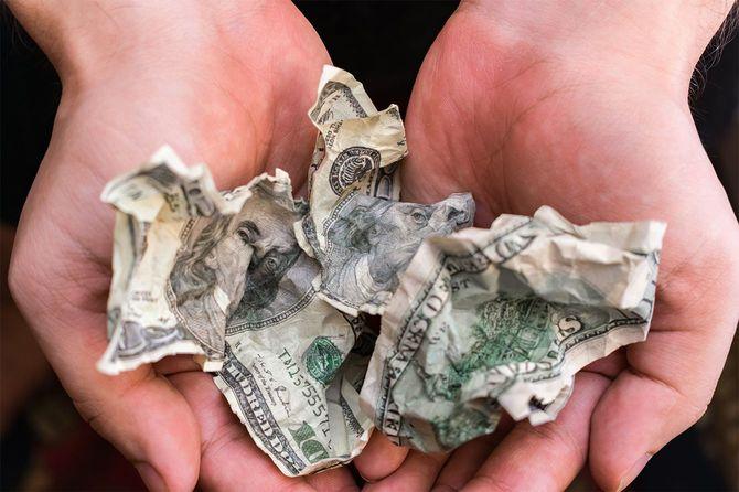 しわの紙幣