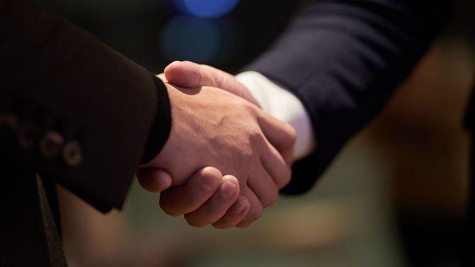 握手を交わすビジネスパーソン