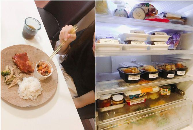 届いたばかりの惣菜が並ぶ、木村さん宅の冷蔵庫。ワンプレートに盛り付けられた惣菜にご飯も盛って食べる長女。