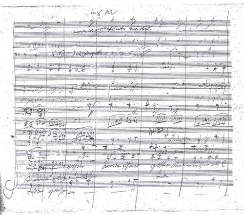 ベートーヴェンの『第九』楽譜の一部
